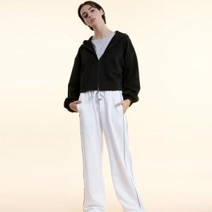 White Reflective Line Wide Leg Pants