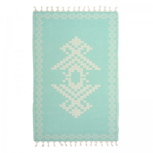Mint Ecru Embroidered Towel