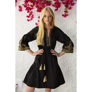 Hermione Black Gold Cotton Embroidered Dress